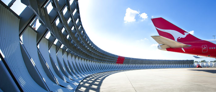 The multi-award winning Qantas blast fence, designed by Woolacotts Consulting Engineers