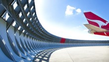 The multi-award winning Qantas blast fence, designed by Woolacotts Consulting Engineers