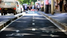 Bike lane, traffic out of focus in background